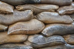 Bags of sand on barricades Stock Image