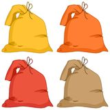 Bags, set. Bags from a linen fabric of different colours, set Royalty Free Stock Photos