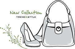 Bags and shoes. New collection. Icon for vintage design. Illustration Stock Photos