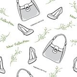Bags and shoes. New collection. Seamless pattern. Illustration Royalty Free Stock Image