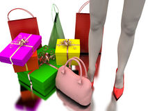 Bags, shopping and gifts. Pink bag, shopping and gifts on white background Royalty Free Stock Image