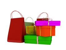 Bags, shopping and gifts. Colour bags, shopping and gifts isolated on white background royalty free illustration