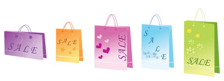 Bags for shopping isolated. Vector illustration. Royalty Free Stock Photos