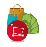 Bags and shopping online design. Bags cart and bills icon. Shopping online ecommerce media and market theme. Colorful design. Vector illustration stock illustration