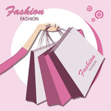Bags for shopping. Shopping.  Young fashionable woman .  Vector illustration Royalty Free Stock Photos