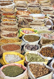 Bags with spices on indian market Royalty Free Stock Photography