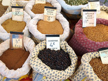 Bags of spices at the market Stock Photo