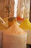 Bags of spices, saffron, salt market, Sana'a, Yemen. Wooden doors and bags of spices, saffron, in the salt market of the Old City of  Sana'a, suq, Yemen, daily Stock Photography