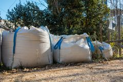 Contaminated waste storage bags. Bags for the storage of white contaminated waste Royalty Free Stock Photography