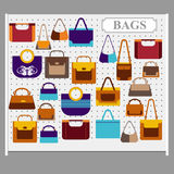 Bags on the store shelves Stock Photo
