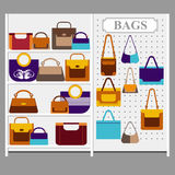 Bags on the store shelves Stock Image