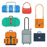 Bags, suitcase and backpack color flat vector illustration. Royalty Free Stock Image