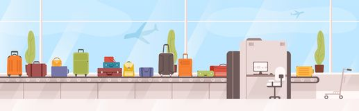 Bags, suitcases on baggage carousel against window with flying aircrafts on background. Device with conveyor belt. Delivering checked luggage at airport royalty free illustration