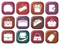 Bags and suitcases buttons Stock Image