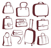 Bags and suitcases doodles Stock Photo