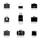 Bags and suitcases icons Stock Photography