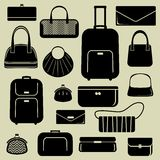 Bags and suitcases icons set Royalty Free Stock Photo