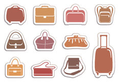Bags and suitcases stickers Stock Image