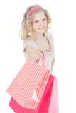 bags tonårs- lycklig rosa shopping för flickan arkivfoto