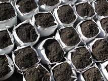 Bags of topsoil Royalty Free Stock Photography