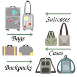 Bags for Travelling. Suitcases, handbags,cases and backpacks stock illustration