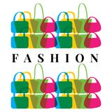 Bags vector logo. Shopping logo. Fashion vector emblem. Shopping design elements stock illustration