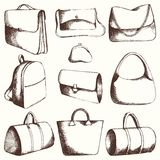 Bags. Vector set. Hand drawing Royalty Free Stock Photo