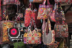 Bags. Village Shop for bags for buyers . Colourful bags. Rajasthani bags Royalty Free Stock Photo