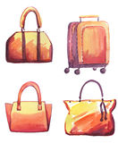 Bags watercolor set. Hand drawn watercolor female leather bags set. Girly look Stock Illustration