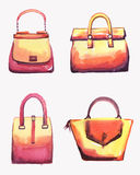 Bags watercolor set. Hand drawn watercolor female leather bags set. Girly look Royalty Free Illustration
