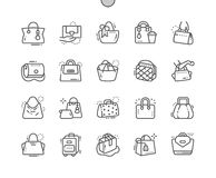 Bags Well-crafted Pixel Perfect Vector Thin Line Icons 30 2x Grid for Web Graphics and Apps. Simple Minimal Pictogram Royalty Free Stock Photo