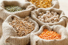 Bags with wheat, chick peas, red lentils and green mung Stock Images