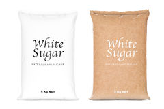 Bags of White Refined Sugar. 3d Rendering Royalty Free Stock Photo
