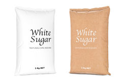 Bags of White Refined Sugar. 3d Rendering Stock Photo