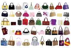 Bags for woman. Illustration of different kind of bags for woman Stock Images