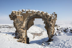 Bagsekisi gate in Ani ancient city, Kars, Turkey. Bagsekisi gate in Ani is a ruined medieval Armenian city now situated in the Turkey`s province of Kars and next Royalty Free Stock Photo