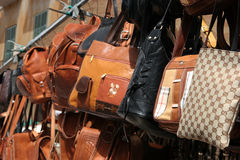 Bagshop. Bags on a market Royalty Free Stock Images