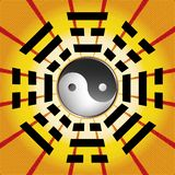 Bagua symbol of Taoism. / Daoism with 8 trigrams with yin yang symbol Royalty Free Stock Photos