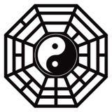Bagua Trigrams Yin Yang Black en Witte vectorillustratie vector illustratie