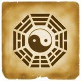 Bagua Yin Yang symbol aged paper Stock Photo