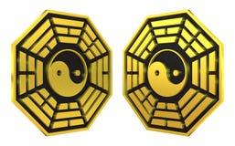Bagua Yin Yang symbol golden sign Royalty Free Stock Images