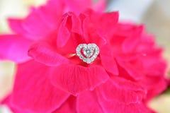 Bague à diamant avec la rose de rose Photographie stock