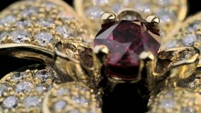 Bague à diamant avec le rubis en bijoux d'or clips vidéos