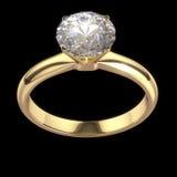 Bague à diamant de mariage d'isolement sur le noir Image libre de droits