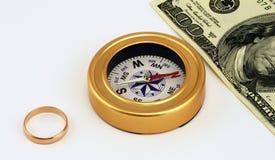 Bague de fiançailles, compas, poupée Photographie stock libre de droits