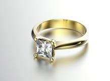 Bague de fiançailles d'or avec le diamant Photo libre de droits