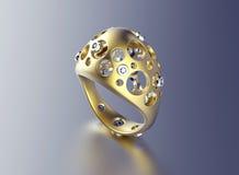 Bague de fiançailles d'or avec le diamant Photos libres de droits