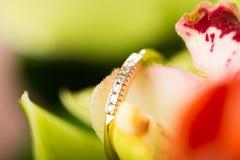 Bague de fiançailles d'or en fleur Images libres de droits