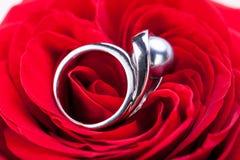 Bague de fiançailles de diamant au coeur d'une rose rouge Images libres de droits