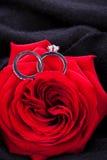 Bague de fiançailles de diamant au coeur d'une rose rouge Photos libres de droits
